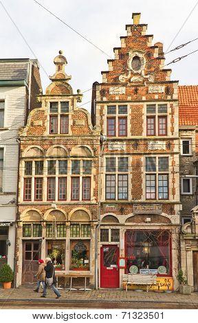 Medieval Houses. Ghent, East Flanders, Belgium
