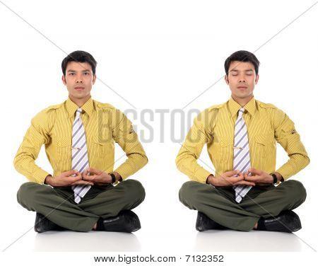 Asian Businessman Meditating Yoga