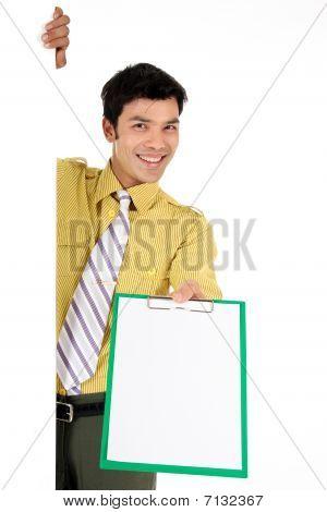 Asian Businessman Clipboard