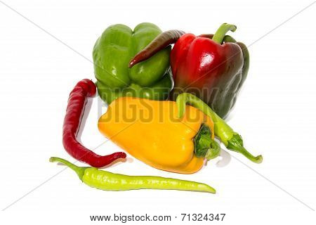Colored Fresh paprika and hot pepper