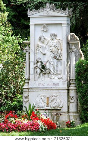 Famous grave of Schubert Franz in the cemetery of the musicians in VIENNA Austria