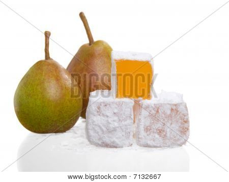 Close Up Of A Stack Of Turkish Delight With Pears