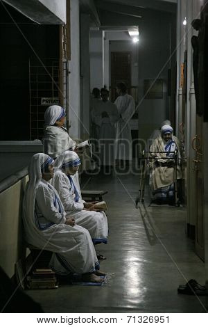 KOLKATA, INDIA - JANUARY 30: Sisters of The Missionaries of Charity of Mother Teresa at Mass in the chapel of the Mother House, Kolkata, India at January 30, 2009.