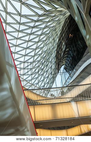 Glasswork Inside The Myzeil Center In Frankfurt