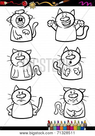Cats Emotion Set Cartoon Coloring Book