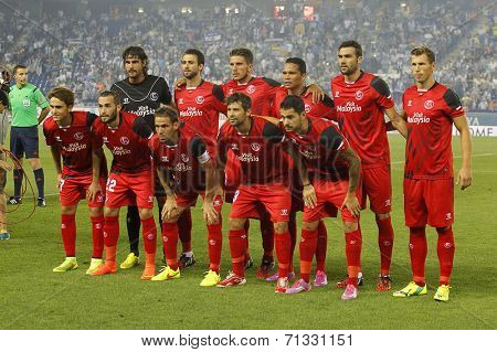 BARCELONA - AUG, 30: Sevilla FC lineup before spanish league match against Espanyol at the Estadi Cornella on August 30, 2014 in Barcelona, Spain