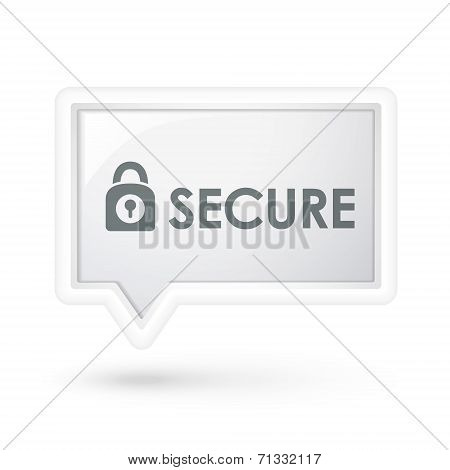 Secure Word With Padlock Icon On A Speech Bubble
