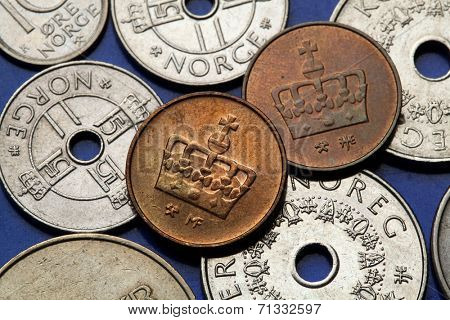 Coins of Norway. Norwegian crown depicted in Norwegian ore coins.
