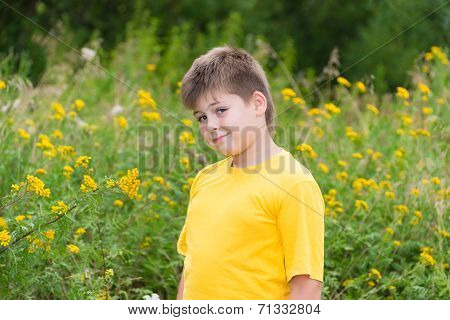 Boy On Meadow With Tansy
