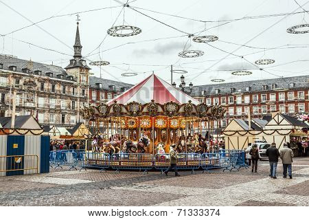 Carousell For Children In The Evening At The Plaza De Mayor In Madrid