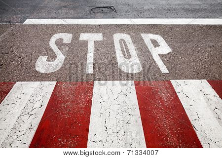 Pedestrian Crossing Road Marking With Stop Line