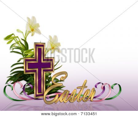 Easter floral border Cross and lilies