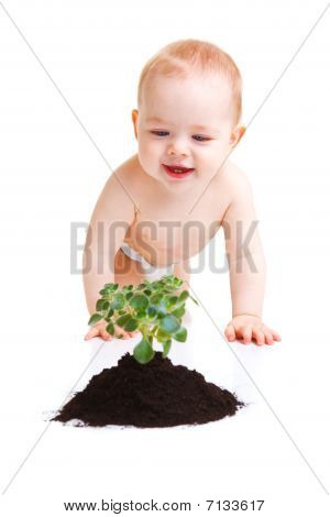 Baby With Plant