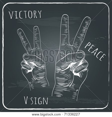 left and right hands with victory sign