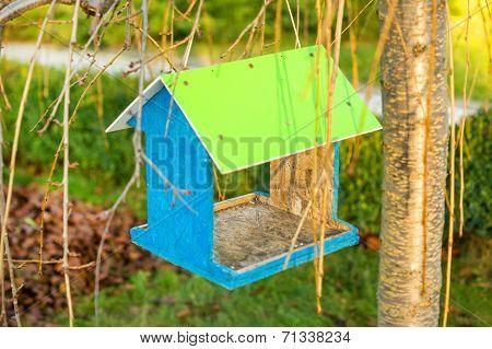 Green wooden bird nest box