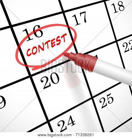 Contest Word Circle Marked On A Calendar