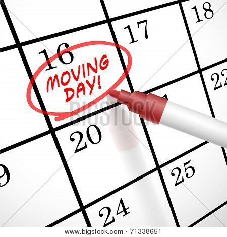 Moving Day Words Circle Marked On A Calendar