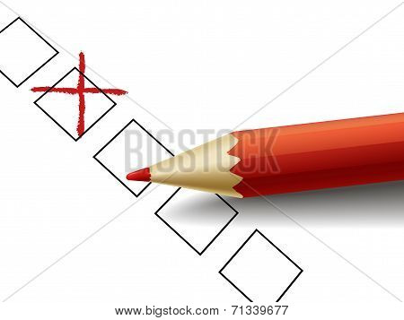 Cross Drawn By Red Pencil