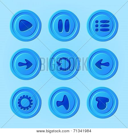 Game UI - vector set of blue buttons for mobile game