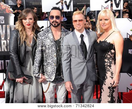 LOS ANGELES - APR 13:  AJ McLean, Rochelle Karidis, Brain Littrell & Leighanne Wallace arrives to the 2014 MTV Movie Awards  on April 13, 2014 in Los Angeles, CA.