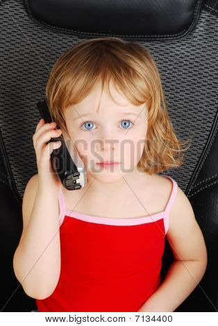 Beautiful Three-year-old  Girl Talking On Phone.