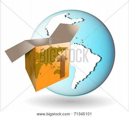 Illustration Of Shipping Box With Earth Globe