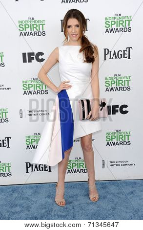 LOS ANGELES - MAR 01:  Anna Kendrick arrives to the Film Independent Spirit Awards 2014  on March 01, 2014 in Santa Monica, CA.
