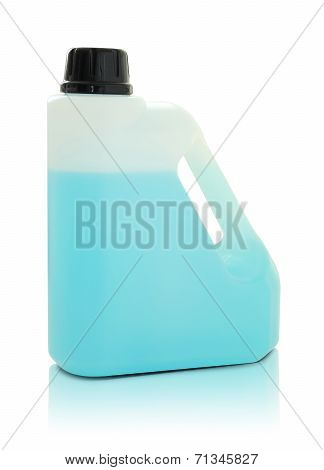 Plastic Gallon With Blue Liquid On White Background