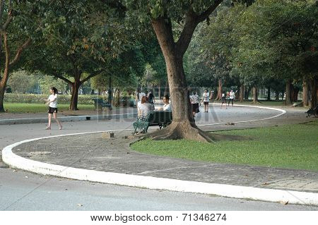 People Relax and Playing Sport in the Park