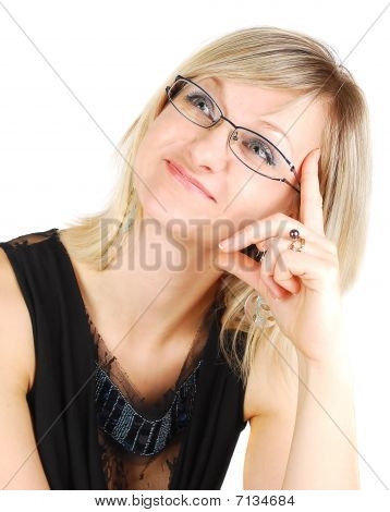 Nice Young Lady Wearing Glasses.