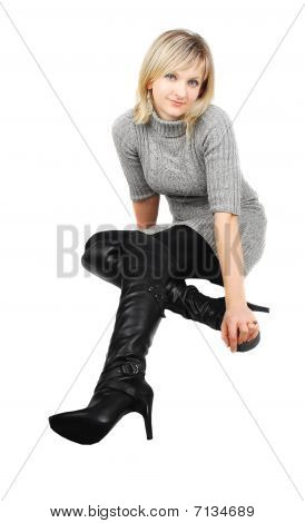 Lady In Black Boots.