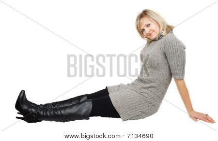 Lady In Black Boots  And Gray Dress.