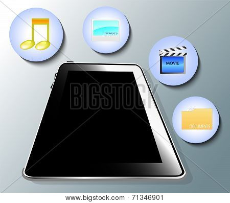 Illustration Of Tablet With Media Symbols