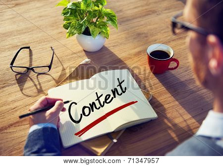 Businessman with Note About Content Concepts