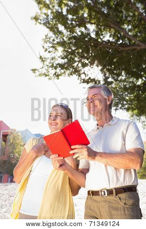 Happy senior couple using the guidebook on a sunny day