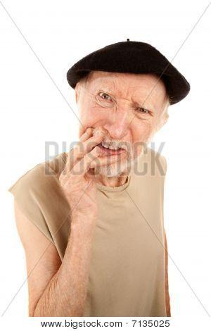 Hombre confundido Senior en Beret