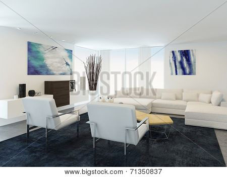 Modern white sitting or living room interior with a comfortable modern lounge suite , white walls and ceiling and a large television set