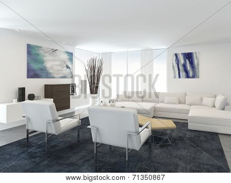 Interior of Modern Living Room in Apartment with Large Floor to Ceiling Windows