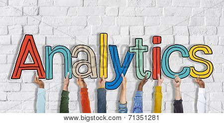 Multiethnic Group of Hands Holding Word Analytics