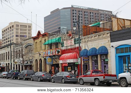 Businesses Along Historic 6Th Street In Downtown Austin, Texas