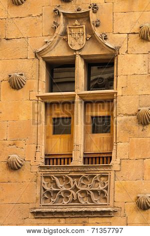 Beautiful Window Of  The House Of Shells In Salamanca