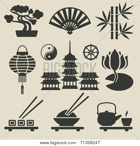 Asian icons set