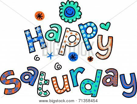 Happy Saturday Cartoon Text Clipart