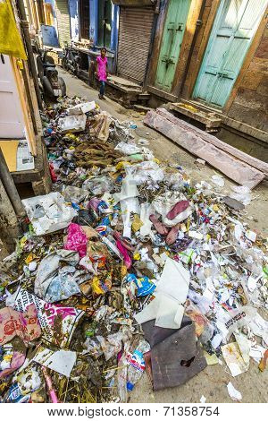 Litter And Garbage In The Street In Jodhpur