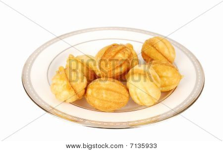 Nuts Cookies On The Plate..