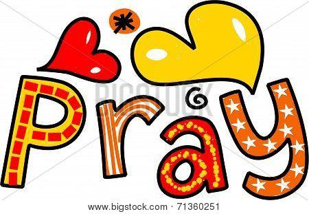 Pray Cartoon Text Expression