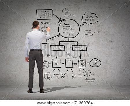 business, education and office people concept - businessman or teacher with marker writing or drawing scheme from back over concrete wall background