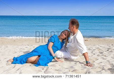 the loving couple on the seashore Cuba Varadero