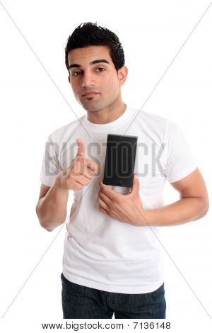 Guy Showing Product Thumbs Up