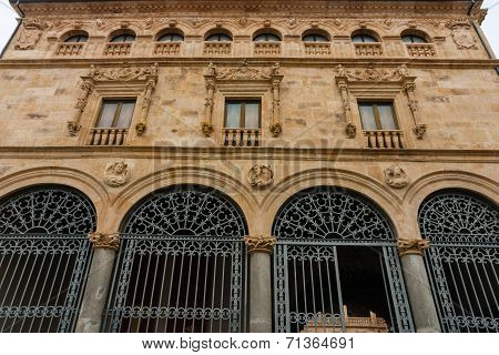 Main Facade Of La Salina Palace In Salamanca